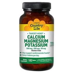 Country Life Target Mins Calcium Magnesium Potassium 500mg/500mg/99mg - 180 Tablet