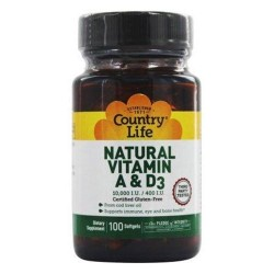 Country life  natural vitaminnd d3 from cod liver oil 10 - 100 ea