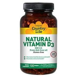 Country Life, Natural Vitamin D3, 400 I.U., Softgels - 100 Count