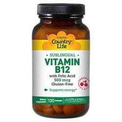 Country Life Vitamin B-12, 500 mcg, with Folic Acid - 100 ea