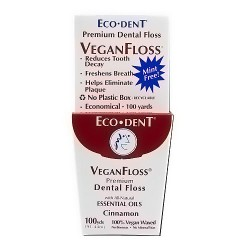 Eco-Dent vegan floss premium dental floss, Display, Cinnamon - 100 yard, 6 pack