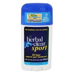 Herbal clear sport deodorant stick with tea tree oil and swiss alps lichen - 1.8 oz