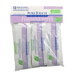 Puretouch skin care individual flushable moist feminine wipes - 12 ea