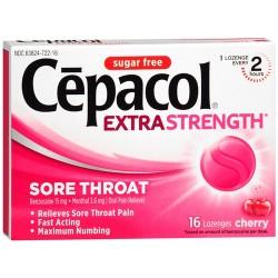 Cepacol sugar free sore throat oral pain reliever lozenges cherry - 16 ea