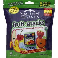 Yumearth organic fruit snacks, Banana, cherry, peach and strawberry - 0.7 oz, 5 pack