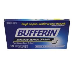 Bufferin buffered aspirin 325 mg coated tablets - 130 ea