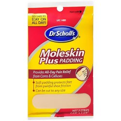 Dr Scholls Moleskin Plus Padding Strips, Size: 4.62 Inches x 3.37 Inches - 3 Ea