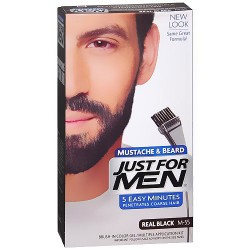 Just For Men Brush-In Mustache, Beard and Sideburns, Natural Real Black - Kit