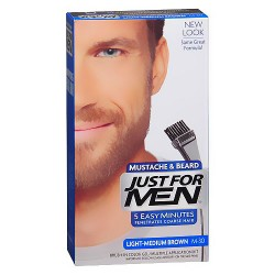 Just for men brush in mustache, beard and sideburns, light medium brown - Kit
