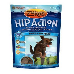 Zukes hip action dog treats naturally delicious, roasted beef recipe - 6 oz, 12 pack