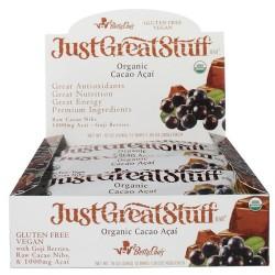 Betty lous just great stuff bar organic cacao acai - 1.5 oz, 12 ea
