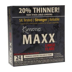 Kimono maxx large flare lubricated latex condoms - 24 ea