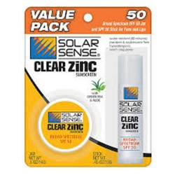 Solar sense clear zinc face jar and stick sunscreen spf 50 - 0.45 Oz