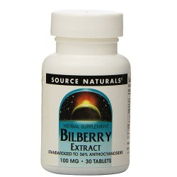 Source Naturals Bilberry extract 100 mg tablets - 30 ea