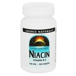 Source Naturals Niacin Vitamin B-3 100 mg tablets - 250 ea