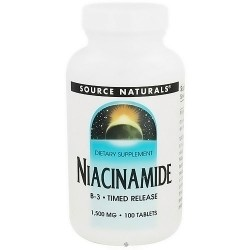 Source Naturals Niacinamide vitaminB-3 1500 mg tablets, 100 ea, 3 pack