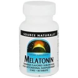 Source Naturals Melatonin 5 mg sublingual orange flavored tablets - 50 ea