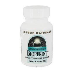 Source Naturals Bioperine black pepper fruit extract 10 mg tablets - 60 ea