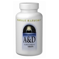 Source Naturals vitamin supplement A and D 10,000 IU / 400IU tablets - 100 ea
