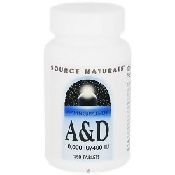 Source Naturals vitamin supplement A and D 10,400 IU tablets - 250 ea