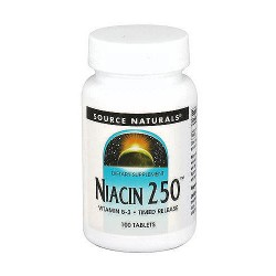 Source Naturals Niacin vitamin B-3 timed release 250 mg tablets - 100 ea