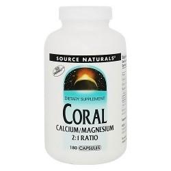 Coral calcium with magnesium 2:1 ratio dietary supplement capsules, 180 ea