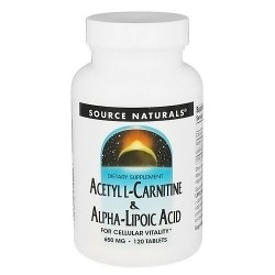 Acetyl L-Carnitine and alpha-lipoic acid 650 mg tablets for cellular vitality, 120 ea