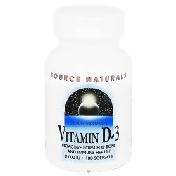 Source Naturals Vitamin D-3 2000 IU softgels - 100 ea
