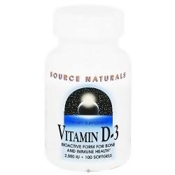 Source Naturals Vitamin D-3 2000 IU softgels - 100 ea