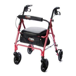 Carex 4-wheel rollator burgundy of 250 lbs weighing capacity, model no: a22200 - 1 ea