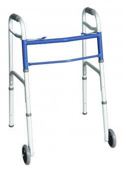 Carex Classics Dual Button With 5 Inch Wheels Foldable Walker - 1 ea