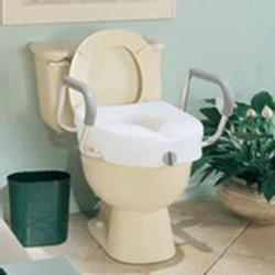 Apex-carex e-z lock raised toilet seat with handles, model no : b304-00 - 1 ea