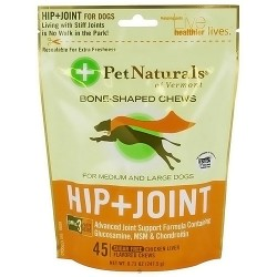 Pet Naturals of Vermont Hip plus Joint chews for medium and large dogs - 45 ea