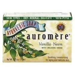 Auromere ayurvedic soothing and moisturizing bar soap, Vanilla Neem, 2.75 oz