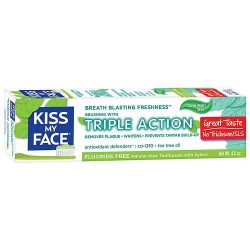 Kiss my face triple action fluoride free toothpaste, cool mint gel - 4.5 oz