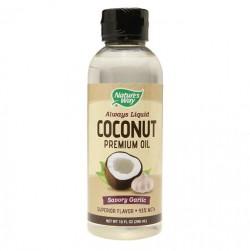 Natures way always liquid coconut premium oil savory garlic - 10 oz