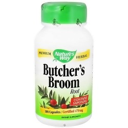 Natures Way Butchers Broom Root Capsules, Contains Saponins - 100 Ea