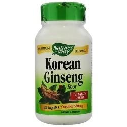 Natures Way Korean Ginseng Root 560 mg Capsules, Premium Herbal - 100 ea