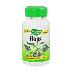 Natures Way Hops Flowers Capsules, Premium Herbal - 100 ea