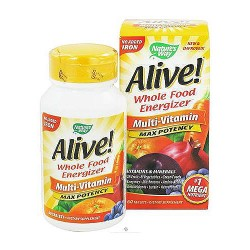 Natures way Alive max potency whole food energizer non iron multi vitamins tablets - 60 ea