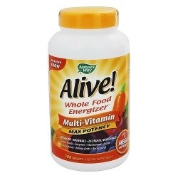 Natures way Alive whole food energizer multi vitamins tablets, no iron - 180 ea