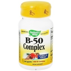 Natures Way Vitamin B-50 Complex With B2 Coenzyme Capsules - 60 Ea