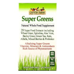 Country farms super greens natural whole food supplement capsules - 60 ea