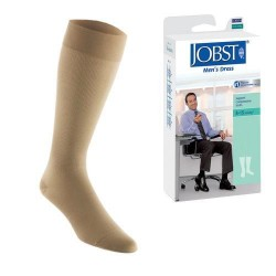Jobst men's dress knee high 8-15 closed toe socks, khaki, small - 1 ea