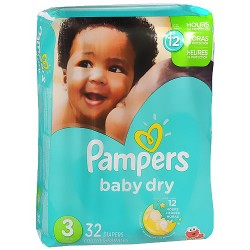 Pampers Baby Dry Diapers Size 3 Jumbo Pack - 32 Ea / 4 pack
