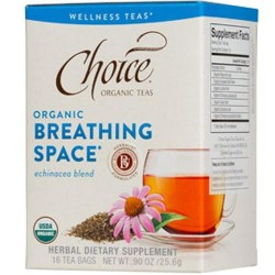 Choice organic teas breathing space, echinacea blend tea  -  16 Bags, 6 Pack