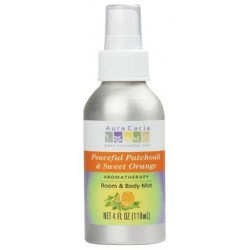 Aura Cacia aromatherapy mist for room and body, Patchouli and Orange - 4 oz