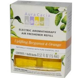 Aura cacia electric aromatherapy air freshener refill uplifting bergamot and orange  -  0.52 Oz ,3 pack