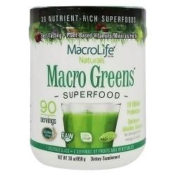 MacroLife Naturals macro greens nutrient rich super food supplement - 30 oz