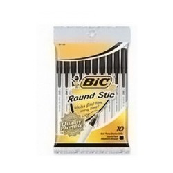 Bic Round stic classic ballpoint pen medium point, black- 10 ea